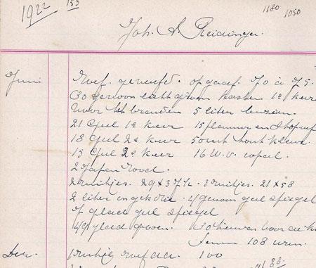 Uit de boekhouding van 1922 een notitie 'roef geverfd'