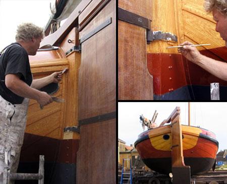 Het houten van de kont van het skutsje 'de Lege Walden'